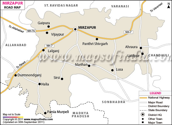 Road Map of Mirzapur