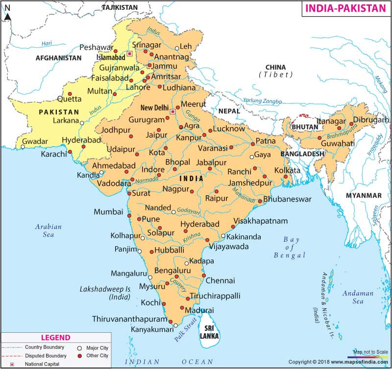 India Pakistan Map, Map of India and Pakistan