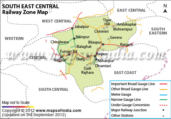 Rail Map South East South East Railway Zone India Map