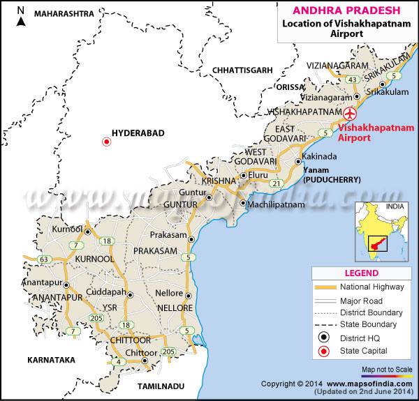Visakhapatnam India  City new picture : Airport Location Map of Visakhapatnam